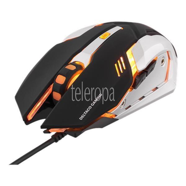 DELTACO GAMING Optische USB-Gaming-Maus 1000-3200 DPI orange LED schwarz/silber