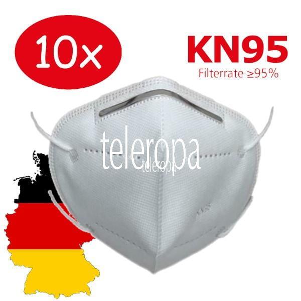 10 Stück Mund- und Nasen Schutzmaske KN95 Gesichtsmaske mit Nasenklammer